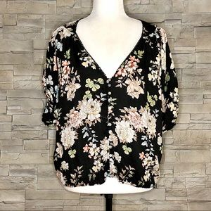 Lovestitch black and cream floral blouse